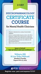 2-Day: Psychopharmacology Certificate Course for Mental Health Clinicians