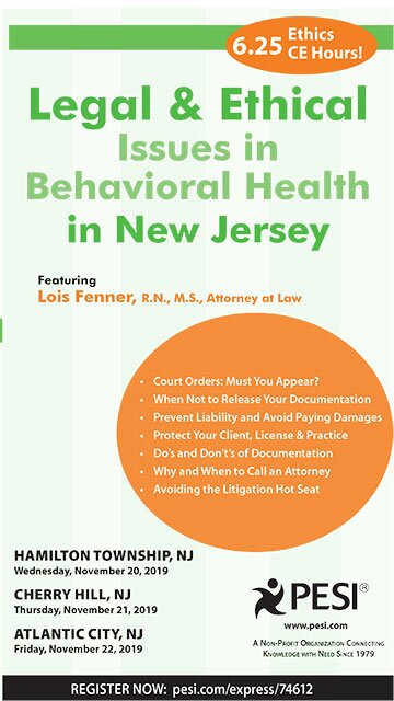 Legal and Ethical Issues in Behavioral Health in New Jersey