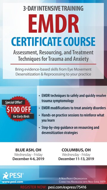 3-Day Intensive Training: EMDR Certificate Course: Assessment, Resourcing and Treatment Techniques for Trauma and Anxiety