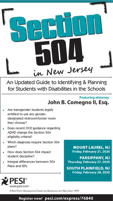 Section 504 in New Jersey: An Updated Guide to Identifying & Planning for Students with Disabilities in the Schools
