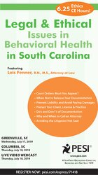 Image ofLegal and Ethical Issues in Behavioral Health in South Carolina